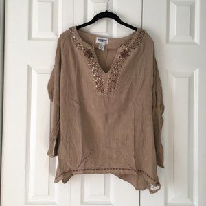 Brown Flowy Blouse with Sequin Neckline Accent